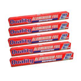 كواليتي باك المونيوم فويل 45*200 سم - 5 حبات +كيس شوي