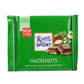 RITTER SPORT MILK CHOCO W/ CHOPPED HAZELNUTS 100G