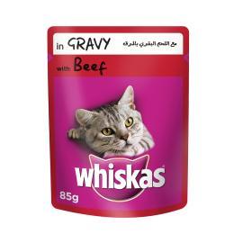 ويسكاس اكل قطط لحم بقرى بالمرق 85 جم